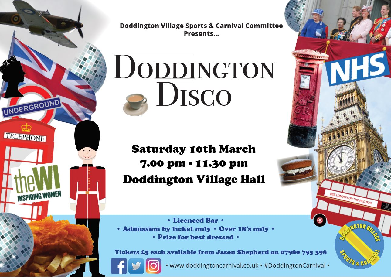 Relive the Doddington Disco another night! A disco to raise money for the Doddington Village Sports & Carnival Committee. Saturday 10th March 2018, 7pm - 11:30pm at the Doddington Village Hall, Benwick Road, Doddington, Cambridgeshire.