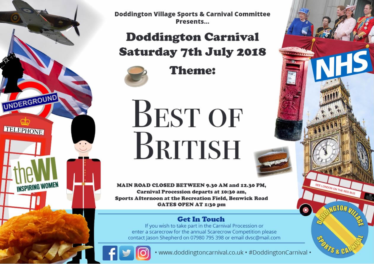 An landscape image showing that the theme for 2018 is 'BEST OF BRITISH', with lots of iconic British items, such as a Red Post Box, a Red Telephone Box, a Beefeater Guard, Fish and Chips, a double-decker bus, a Spitfire and more.