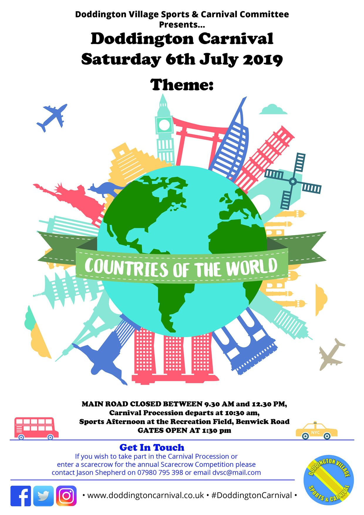 A portrait image showing that the theme for 2019 is 'Countries of the World', with lots of iconic images of buildings from around the world. such as Big Ben, the Eiffel Tower, the Statue of Liberty, all eminating from a picture of the globe, wrapped with a banner saying 'Countries of the World'.