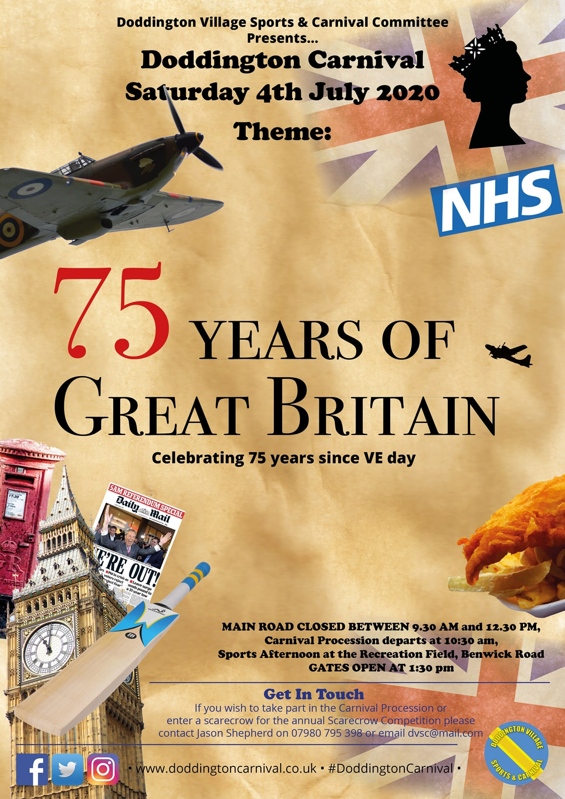 A portrait image showing that the theme for 2020 is '75 Years of Great Britain - Celebrating 75 Years since VE day', with lots of iconic images of a Spitfire plane, the NHS logo, Big Ben, a red Post Box, Fish and Chips, the Union Flag and more.